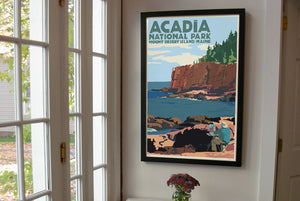"Painting In Acadia National Park Art Print 24"" x 36"" Framed Wall Poster By Alan Claude"