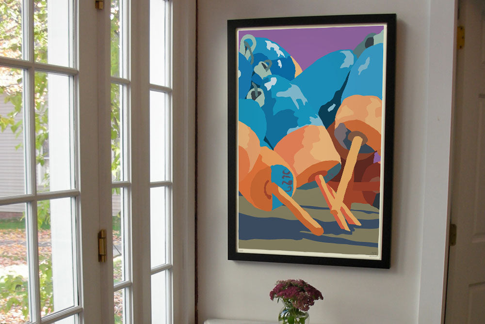 "Blue & Orange Lobster Buoys Art Print 24"" x 36"" Framed Wall Poster By Alan Claude"