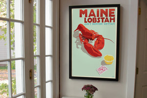 "Maine Lobstah Art Print 24"" x 36"" Framed Wall Poster By Alan Claude"