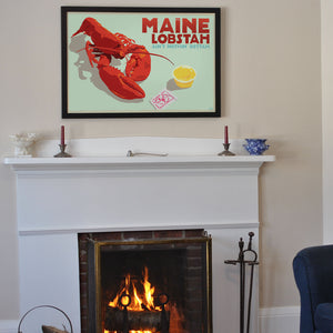 "Maine Lobstah With Butter Art Print (Horizontal) 24"" x 36"" Framed Wall Poster By Alan Claude"