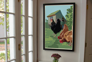 "Spring Chickens Art Print 24"" x 36"" Framed Wall Poster By Alan Claude"