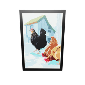 "Winter Chickens Art Print 24"" x 36"" Framed Wall Poster By Alan Claude"