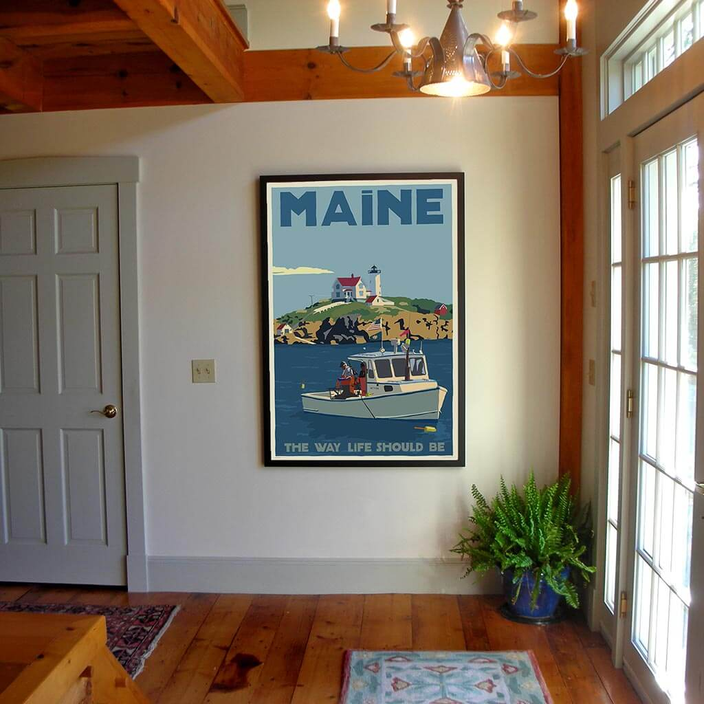 "Lobstering at the Nubble Maine 200 Bicentennial Edition Framed Art Print 36"" x 53"" Travel Poster - Maine"