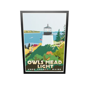"Above Owls Head light Art Print 36"" x 53"" Framed Travel Poster - Maine"