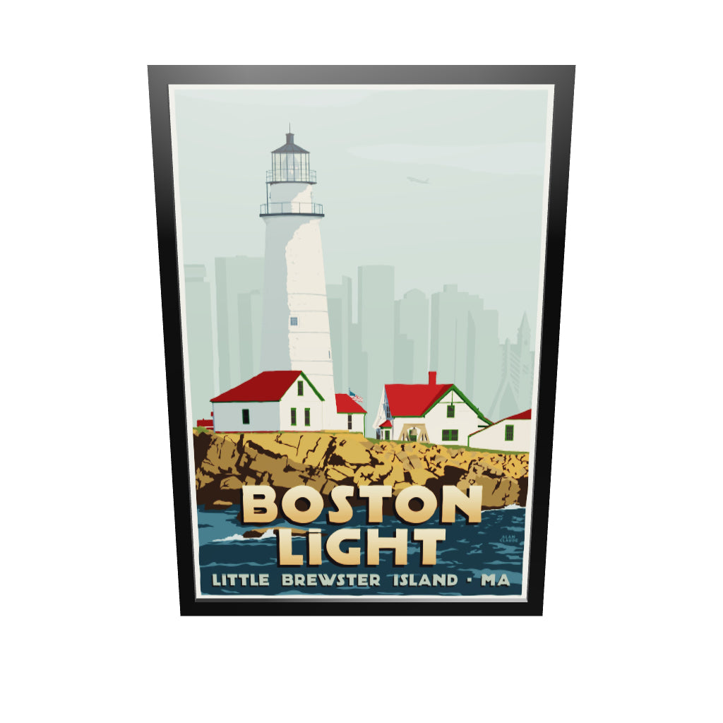 "Boston Light Art Print 36"" x 53"" Framed Travel Poster - Massachusetts"