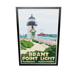 "Brant Point Light Art Print 36"" x 53"" Framed Travel Poster - Massachusetts"