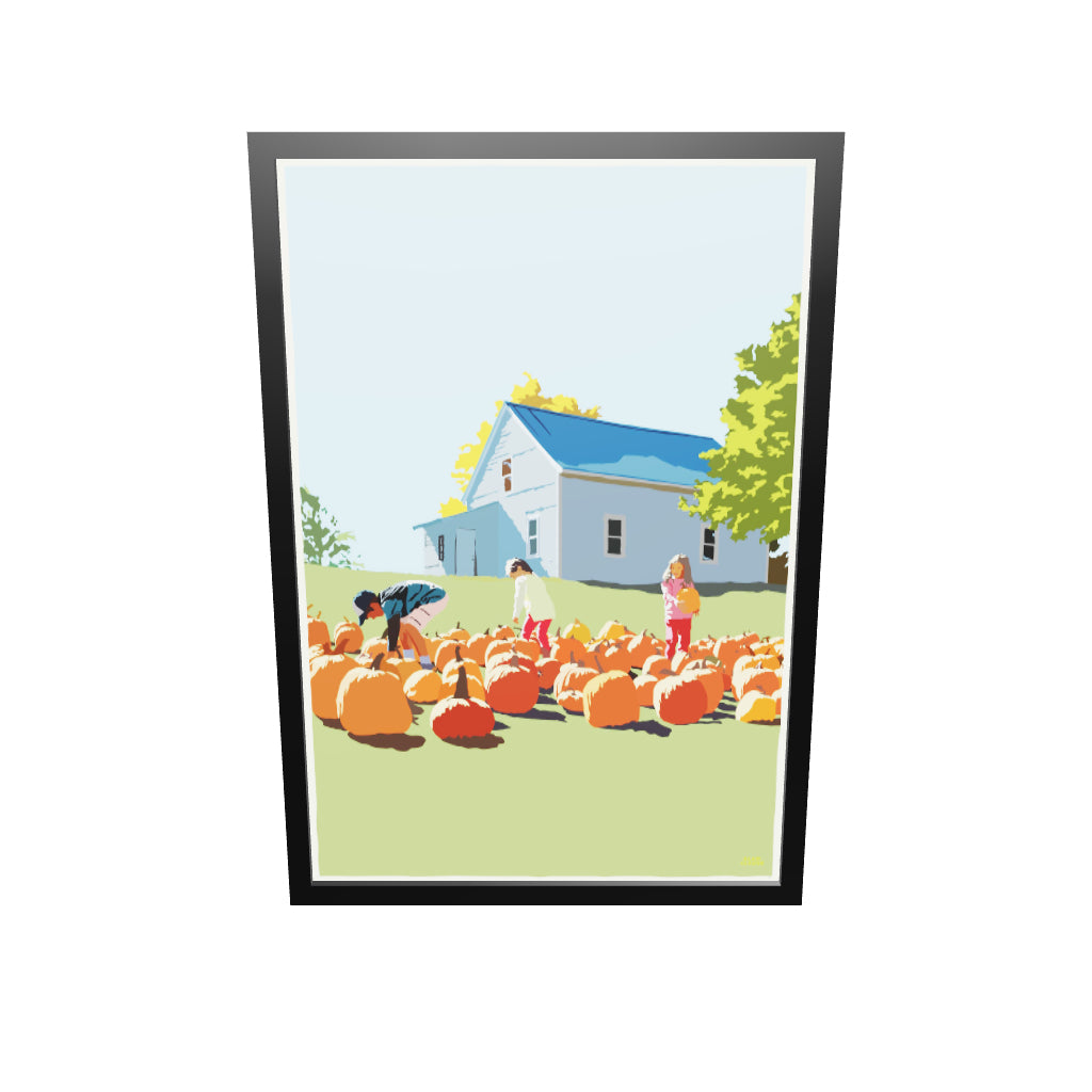 "Fall Pumpkin Kids Art Print 36"" x 53"" Framed Wall Poster - Maine"