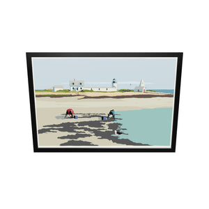 "Goat Island Clammers Art Print 36"" x 53"" Framed Wall Poster - Maine"