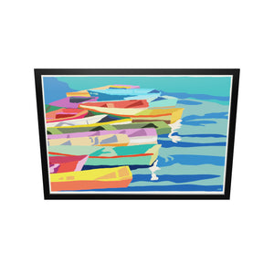 "Perkins Cove Dinghies Art Print (Horizontal) 36"" x 53"" Framed Wall Poster- Maine"