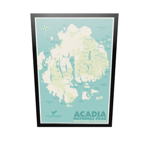 "Acadia National Park Map Art Print 36"" x 53"" Framed Travel Poster - Maine"