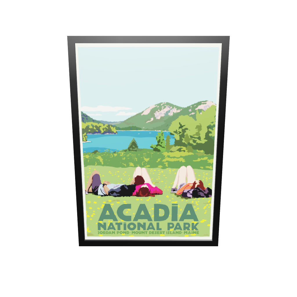 "Hikers in Acadia National Park Art Print 36"" x 53"" Framed Wall Poster By Alan Claude"