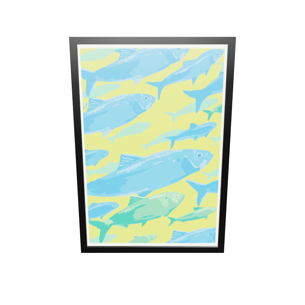 "Alewives On The Move Art Print 36"" x 53"" Framed Wall Poster By Alan Claude"
