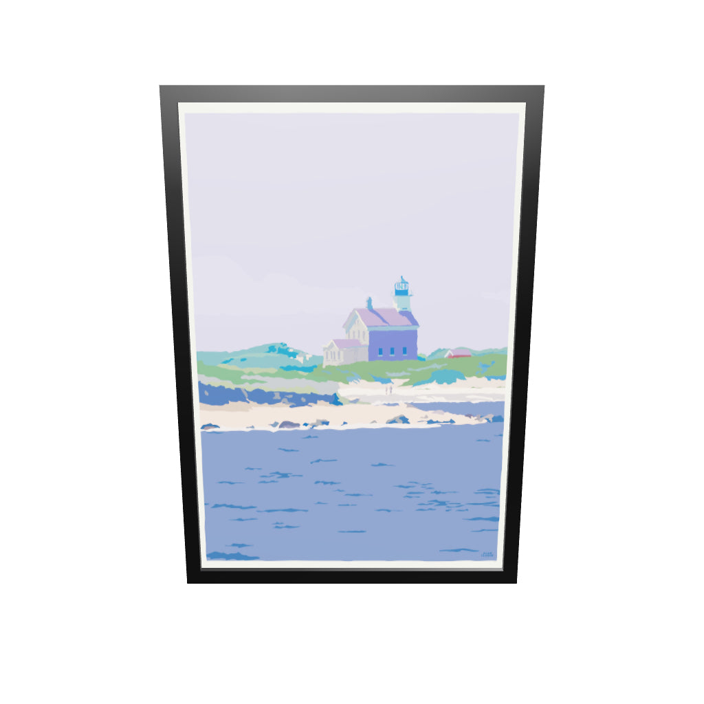 "Block Island North Light Art Print 36"" x 53"" Framed Travel Poster - Rhode Island"