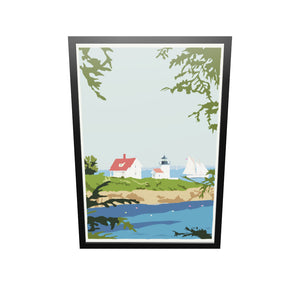 "Camden Lighthouse Art Print 36"" x 53"" Framed Wall Poster - Maine By Alan Claude"