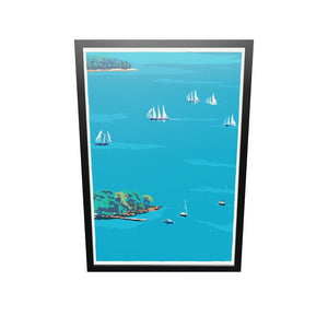 "Schooners in Camden Harbor Art Print 36"" x 53"" Framed Wall Poster - Maine By Alan Claude"