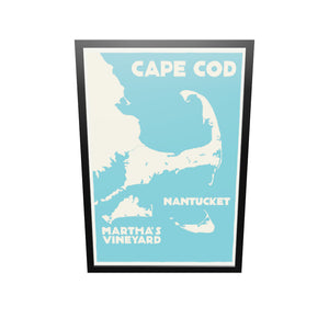 "Cape Cod, Martha's Vineyard, Nantucket Map Art Print 36"" x 53"" Framed Travel Poster - Massachusetts"