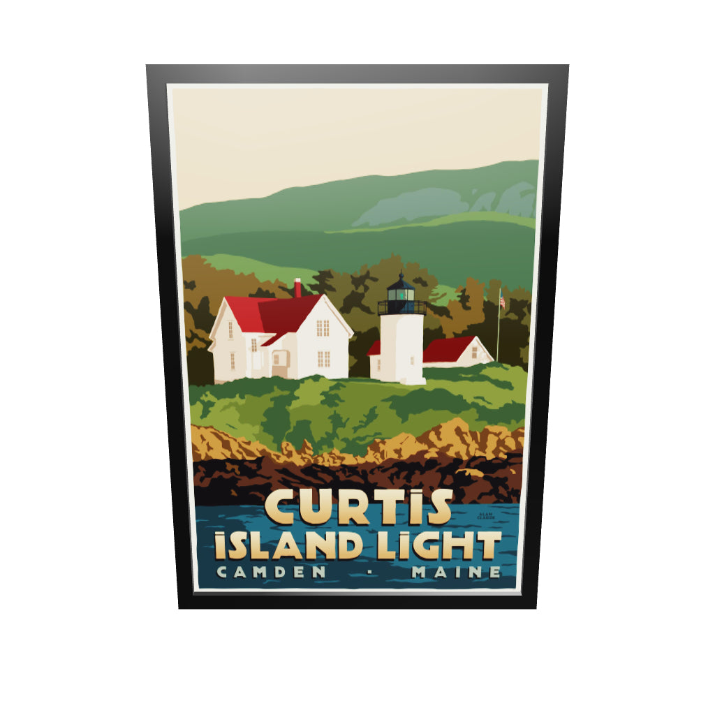 "Curtis Island Light Art Print 36"" x 53"" Framed Travel Poster - Maine"