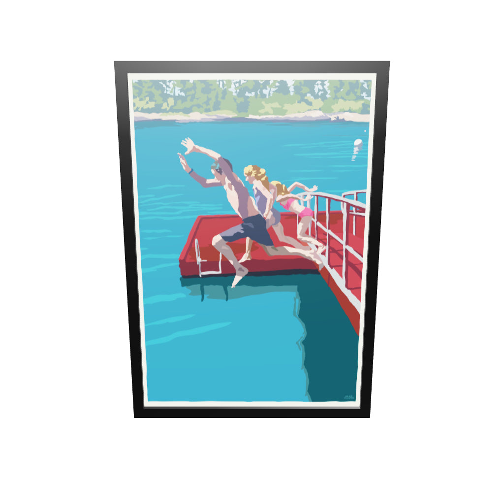 "Go Jump In A Lake Art Print 36"" x 53"" Framed Wall Poster By Alan Claude"