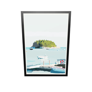 "I Am An Island - vertical format Art Print 36"" x 53"" Framed Travel Poster - Maine"