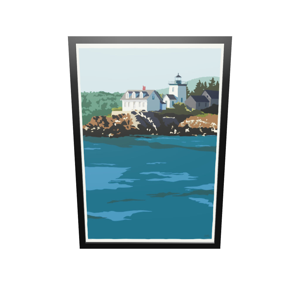 "Indian Island Light Art Print 36"" x 53"" Framed Wall Poster - Maine"