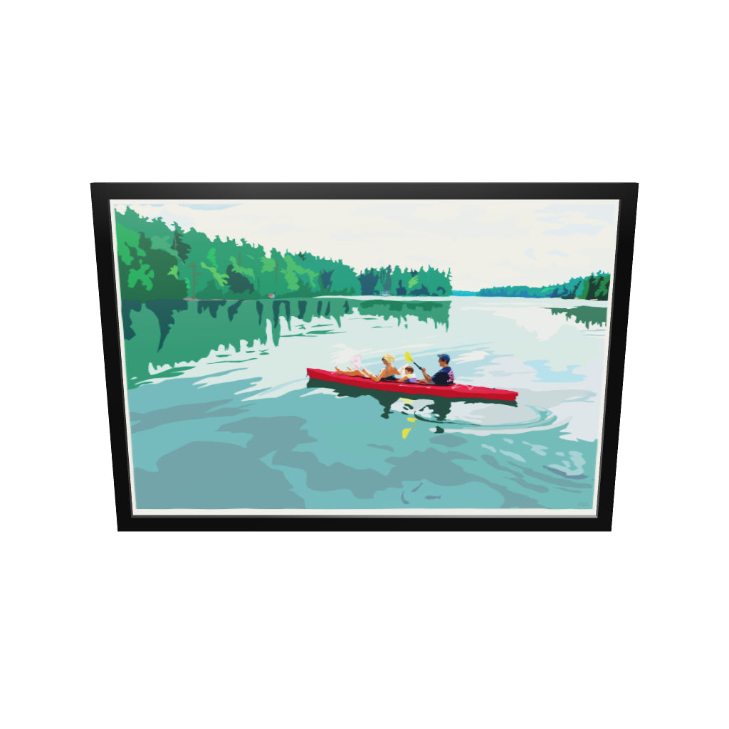 "Kayaking On A Lake Art Print 36"" x 53"" Framed Travel Poster - Maine"