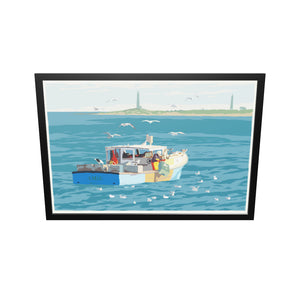 "Lobstering at Cape Ann Art Print 36"" x 53"" Framed Wall Poster - Massachusetts"