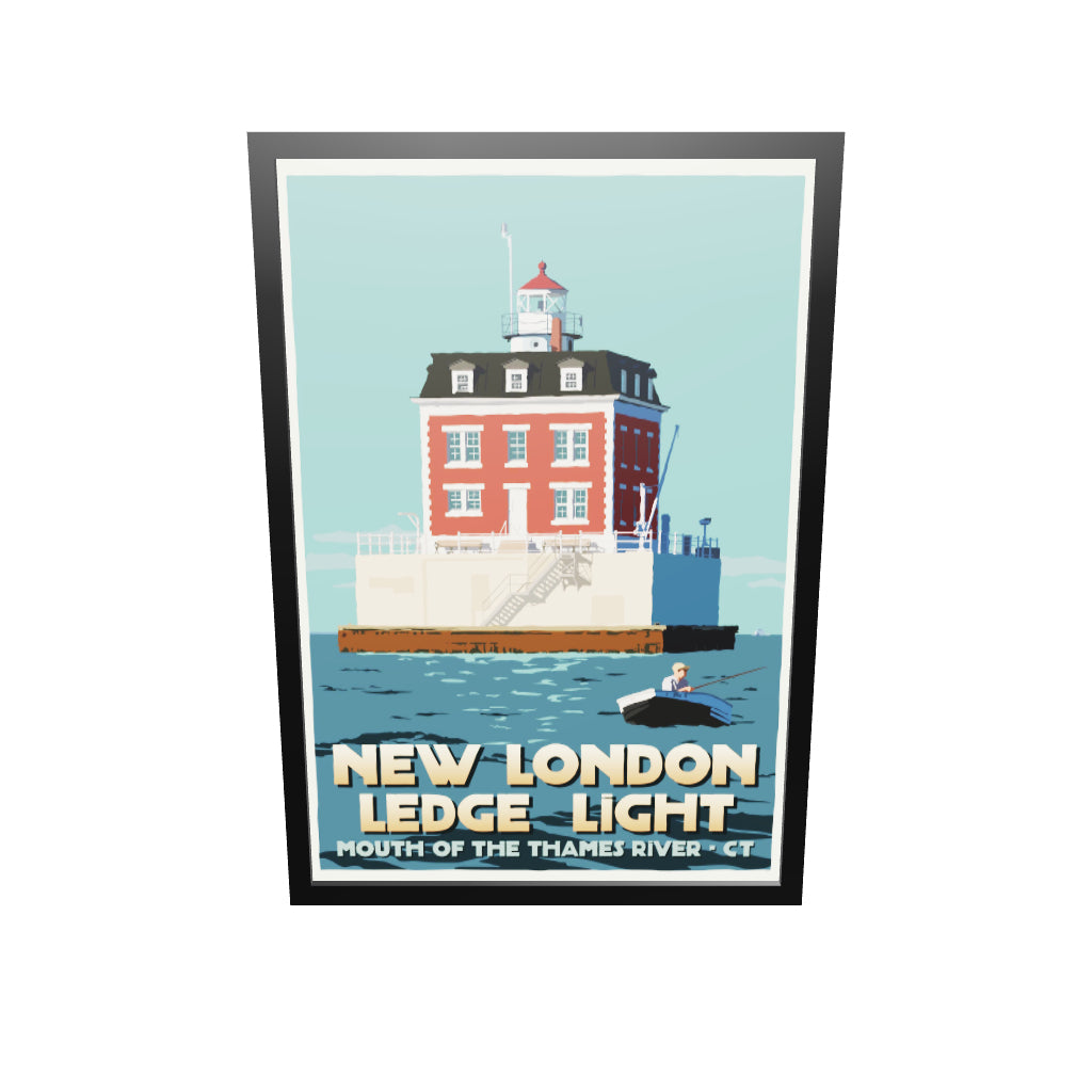 "New London Ledge Light Art Print 36"" x 53"" Framed Travel Poster - Connecticut"