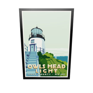 "Owls Head Light Art Print 36"" x 53"" Framed Travel Poster - Maine"