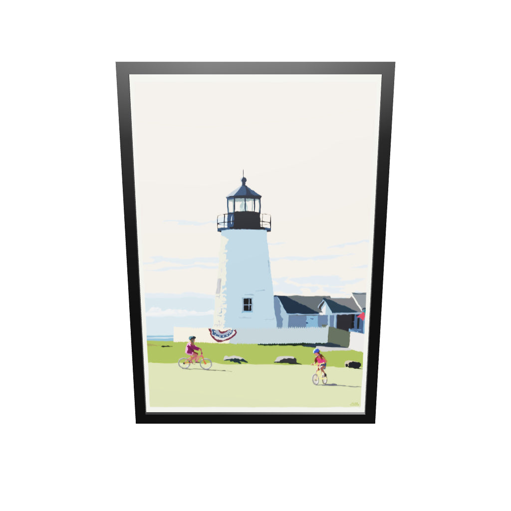"Pemaquid Bicycle Girls Art Print 36"" x 53"" Framed Wall Poster - Maine"