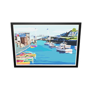 "Perkins Cove Draw Bridge Art Print 36"" x 53"" Framed Wall Poster - Maine"