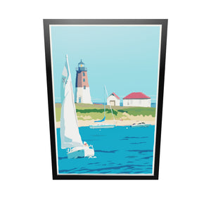 "Point Judith Light Art Print 36"" x 53"" Framed Travel Poster - Rhode Island"