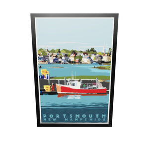"Portsmouth Lobster Boat Art Print 36"" x 53"" Framed Travel Poster - New Hampshire"