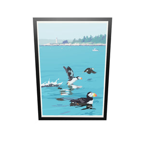 "Puffins At Franklin Island Art Print 36"" x 53"" Framed Wall Poster - Maine"