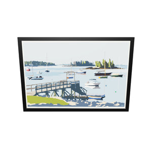 "Sailboats In Boothbay Harbor Art Print 36"" x 53"" Framed Wall Poster - Maine"