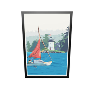 "Sailing Ladies Delight Art Print 36"" x 53"" Framed Wall Poster - Maine"