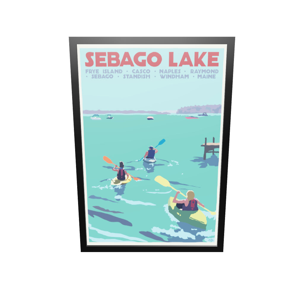 "Sebago Lake kayakers Art Print 36""x 53"" Framed Travel Poster - Maine by Alan Claude"