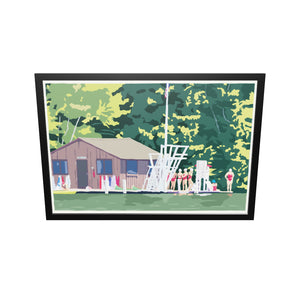 "Sebago Lake Swimmers Art Print (horizontal) 36"" x 53"" Framed Wall Poster - Maine"