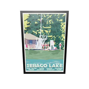 "Sebago Lake Swimmers Art Print 36"" x 53"" Framed Travel Poster - Maine"