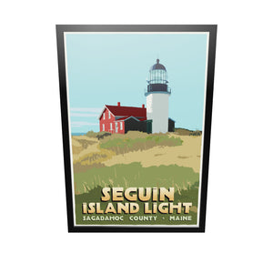"Seguin Island Light Art Print 36"" x 53"" Framed Travel Poster - Maine"