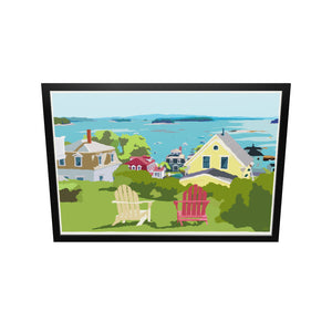 "Stonington Harbor Art Print 36"" x 53"" Framed Travel Poster - Maine"