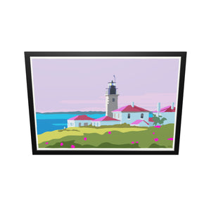 "Sunrise At Beavertail Light Art Print 36"" x 53"" Framed Wall Poster - Rhode Island"