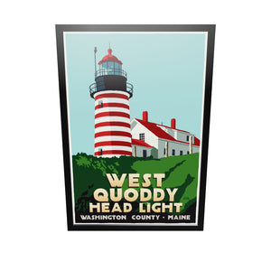"West Quoddy Head Light Art Print 36"" x 53"" Framed Travel Poster - Maine"