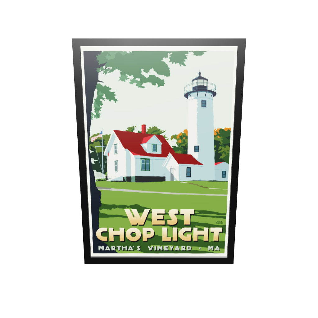 "West Chop Light Art Print 36"" x 53"" Framed Travel Poster - Massachusetts"
