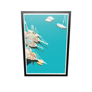 "Windjammers In Camden Harbor Art Print 36"" x 53"" Framed Wall Poster - Maine"