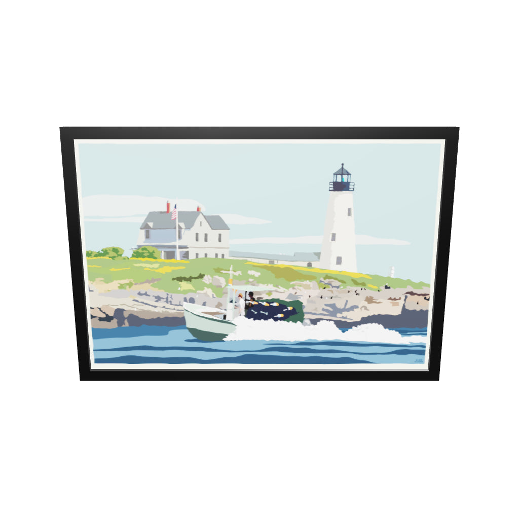 "Wood Island Light Art Print 36"" x 53"" Framed Wall Poster - Maine"
