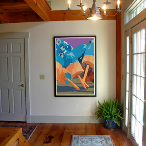 "Blue & Orange Lobster Buoys Art Print 36"" x 53"" Framed Wall Poster By Alan Claude"