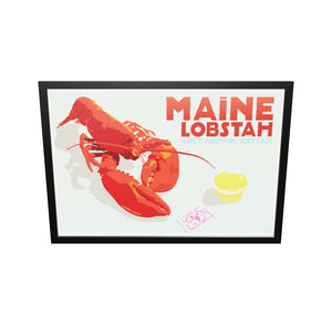 "Maine Lobstah With Butter Art Print (Horizontal) 36"" x 53"" Framed Wall Poster By Alan Claude"