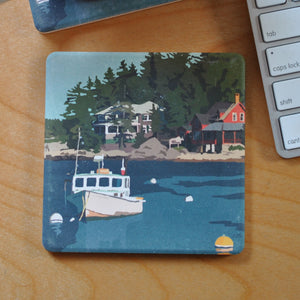 Lobster Boat at Five Islands Art Drink Coaster - Maine