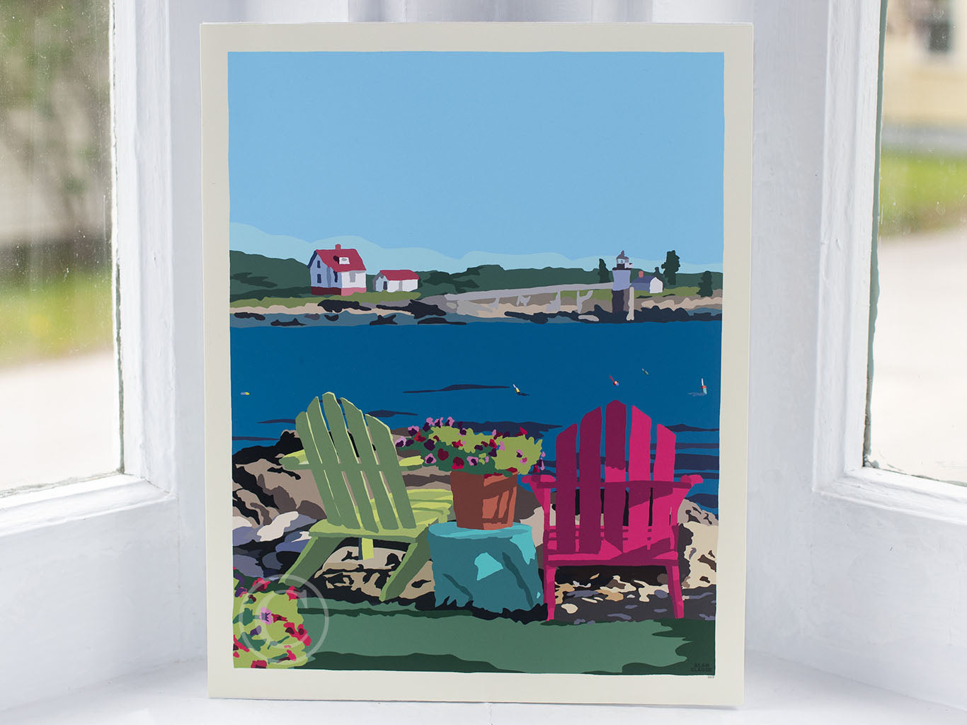 "Chairs Overlooking Ram Island Art Print 8"" x 10"" Wall Poster"