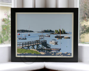 "Sailboats in Boothbay Harbor Art Print 8"" x 10"" Framed Wall Poster - Maine"